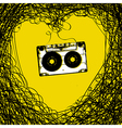 Concept Retro music background Heart from tape an vector image vector image