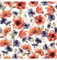 Watercolor poppy and cornflower pattern vector image