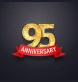 95 th anniversary logo template ninety-five years vector image