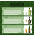 Alcohol drinks menu or wine list Bottles glasses vector image