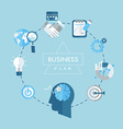 Business plan concept flat icons vector image