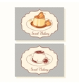 Creme caramel dessert business cards in vector image