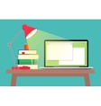 Workspace with laptop lamp and books vector image
