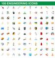 100 engineering icons set cartoon style vector image