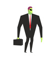 Alien businessman UFO boss Martian in business vector image