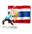 A girl with the flag of Thailand vector image