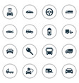 set of simple car icons vector image