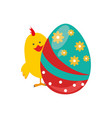 chicken animal with colorful easter egg vector image