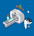 patient and doctor diagnostic scanner tomography vector image