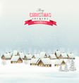 Holiday Christmas background with a village vector image