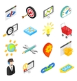 Seo isometric 3d icons set vector image