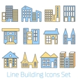 Colored line Building Icons Set vector image