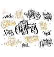 set of hand lettering christmas greetings vector image