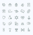 outline icon collection - symbols of hanukkah vector image
