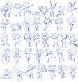 Doodle design of people doing different activities vector image vector image
