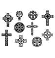 Black and white decorative Christian crosses vector image