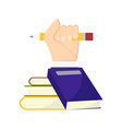books with hand vector image