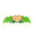 Christmas decoration poinsettia and pine cones vector image