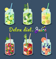 detox diet juices with fruits vector image