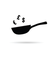 pan with euro and dollar sign on white vector image