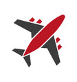 plane icon in red and black colors isolated on vector image
