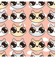 seamless pattern with kawaii kittens vector image