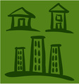 Set of House sketches on green background vector image