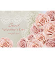 valentine day card with delicate roses and lace vector image