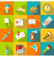Painter artist tools icons set flat style vector image
