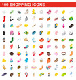 100 shopping set isometric 3d style vector image