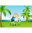 A young soccer player at the riverside with palm vector image vector image