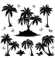 Tropical island palms and butterflies silhouettes vector image