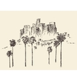 Los Angeles California Skyline Engraved Sketch vector image