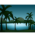 Silhouette nature scene with coconut trees vector image