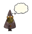 cartoon wizard with thought bubble vector image