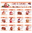 Cake menu template for bakery pastry shop design vector image