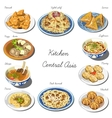 Central asia cuisine set Collection of food vector image