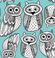 Decorative Hand dravn Cute Owl Sketch Doodle black vector image