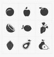 fruit black icon set on white vector image