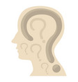 head with question icon cartoon style vector image