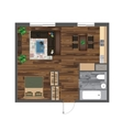 Architectural Color Floor Plan Studio Apartment vector image