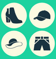 garment icons set collection of trilby trunks vector image