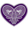 Celtic heart with two cats inside vector image