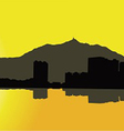 Contour Hong Kong city on a yellow background vector image