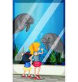 Children looking visiting aquarium vector image