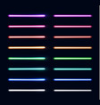 neon light tubes set colorful stripes collection vector image