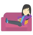 Woman sitting on the couch with remote control vector image