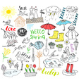 Spring season set doodles elements Hand drawn vector image
