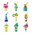 Smoothies And Bright Multilayered Cocktails vector image