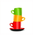 Tower of colored cups vector image vector image